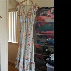 100% SILK Express Maxi Floral dress ,like new
